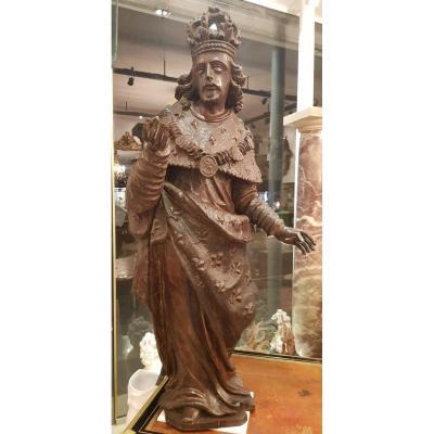 """""""Saint Louis""""  Sculpture  en Chêne XVII ème"""