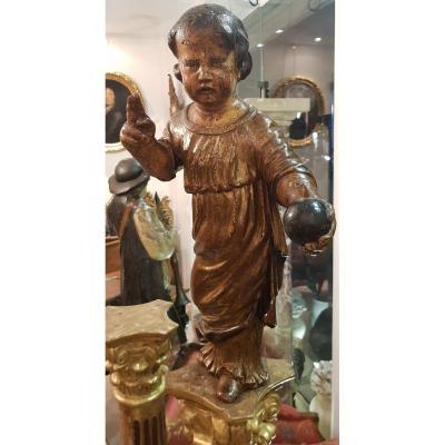 Enfant Jésus Bénissant En Bois Sculpté Polychrome XVIII ème