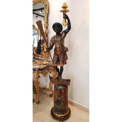 Gondolier En Bois Sculpté Polychrome Italie XIX ème