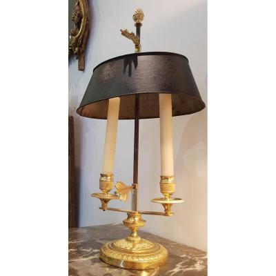 Petite Lampe Bouillotte En Bronze Doré  début XIX ème