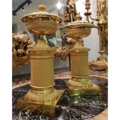 Paire De Vases Pot-pourri Epoque Empire XIX ème