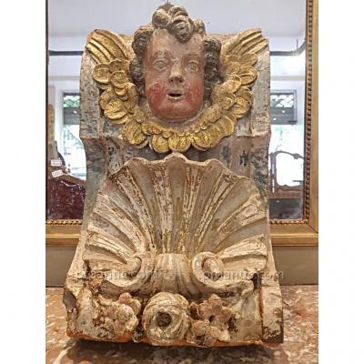 Element de décoration en bois sculpté polychrome XVII ème