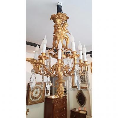 Important Lustre En Bronze Doré d'Epoque Napoléon III