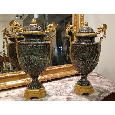 Paire De Vases Couverts Signés P SORMANI  PARIS
