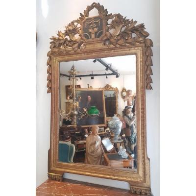 Miroir En Bois Sculpté Et Doré d'Epoque Louis XVI  XVIII ème