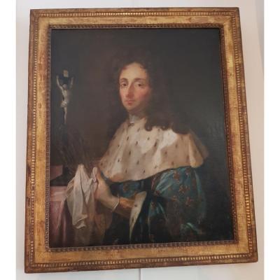 Portrait d'Homme En Saint Louis Ecole Française du XVIII ème