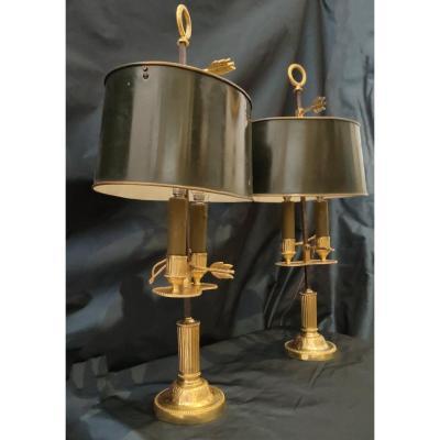 Paire De Lampes Bouillotte En Bronze Doré Début XIX ème