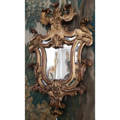Miroir A Parecloses En Bois Doré Italie XVIII ème