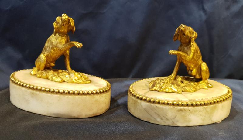 Paire De Presse Papiers En Bronze Doré D'epoque Louis XVI XVIII ème-photo-3