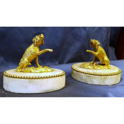 Pair Of Paperweight In Gilt Bronze Louis XVI XVIII