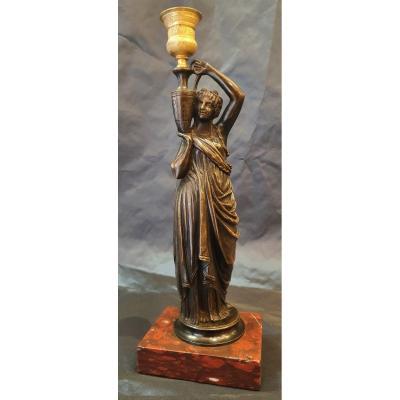 Porteuse d'Eau  En Bronze d'Après l'Antique Montée En  Lampe XIX ème