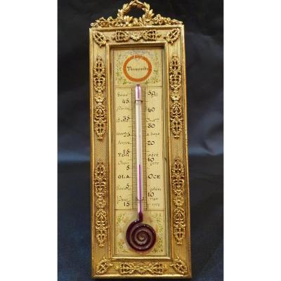 Thermomètre De Style Louis XVI En Bronze Doré Fin XIX ème