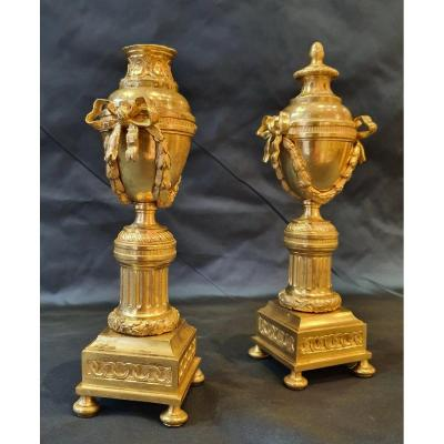 Paire De Cassolettes Bougeoirs En Bronze Doré  Epoque Louis XVI XVIII ème