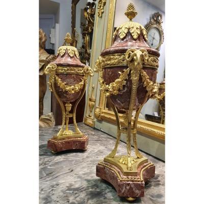 Grande Paire De Cassolettes De Forme Athénienne Epoque Napoléon III XIX ème