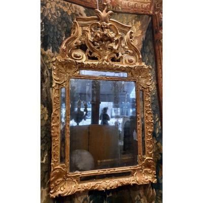 Miroir A Parecloses En Bois Sculpté Et Doré Epoque Régence XVIII ème
