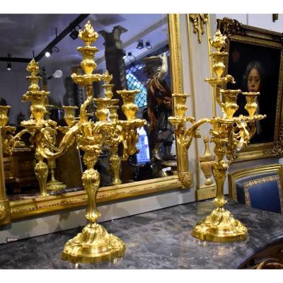 Paire De Grands Candélabres En Bronze Doré De Style Louis XV XIX ème