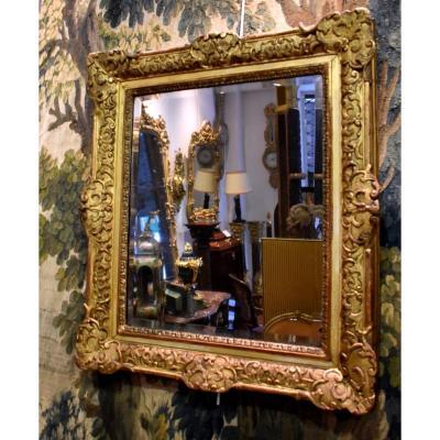 Miroir En Chêne Sculpté Et Doré De Style Régence Fin XVIII ème