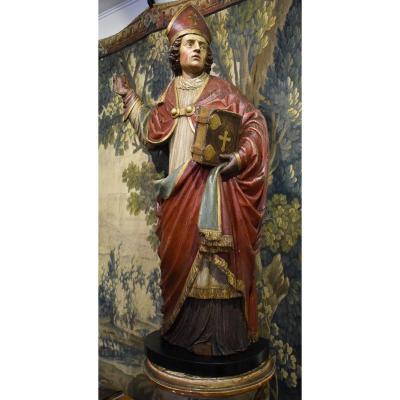 """""""Saint Evêque"""" En Chêne Sculpté Polychrome Début XVIII ème"""
