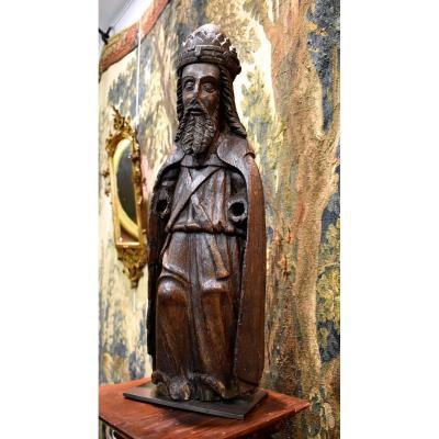 Charlemagne En Chêne Sculpté XVI ème