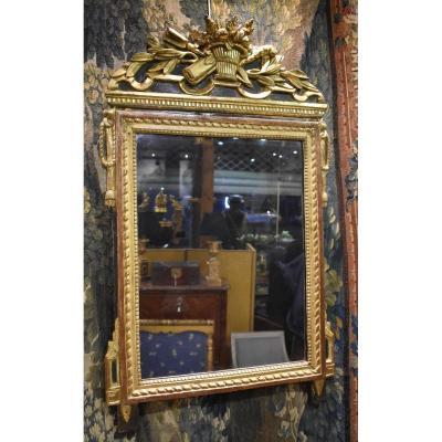 Miroir En Bois Sculpté Et Doré Epoque Louis XVI XVIII ème