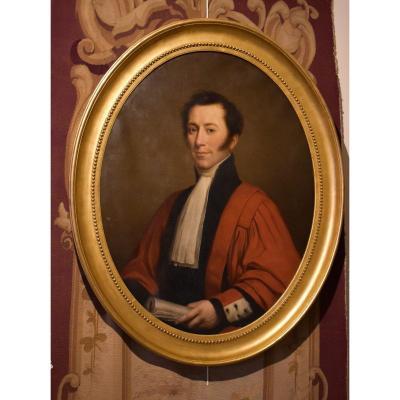 Grand Portrait Du Baron Ambroise-François Thomas Du Fossé De Bosmelet Début XIX éme