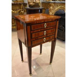 Table Chiffonière En Marqueterie Epoque Louis XVI XVIII ème