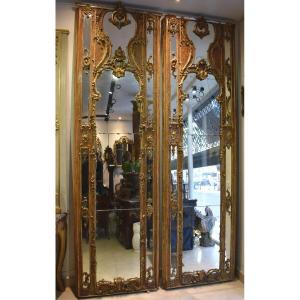 Paire d'Importants Miroirs De Boiserie Venise Italie XVIII ème