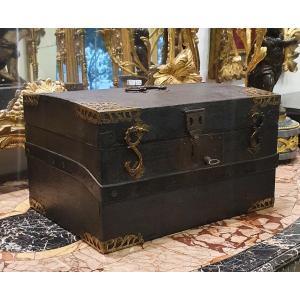 Grand Coffret En Cuir Epoque Louis XIV XVII  ème