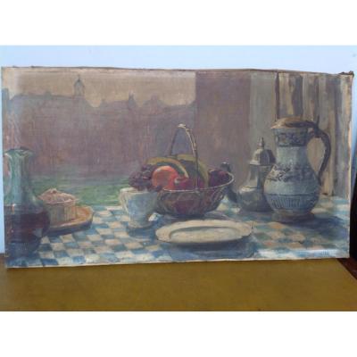 Huile Sur Toile, Nature Morte,décor De Table 1916