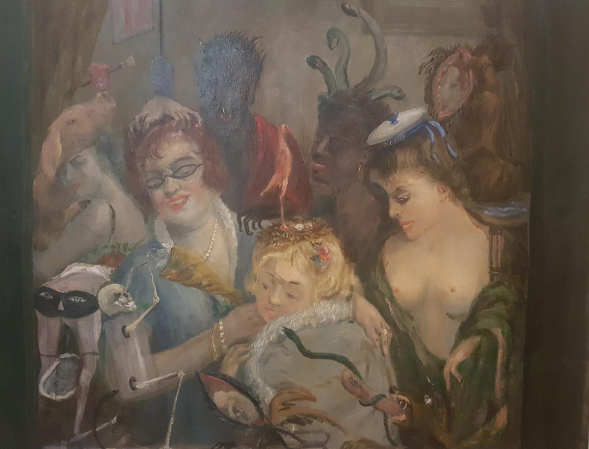 Painting Of Curiosity Oil On Canvas, Unsigned 1940's With Devil, Skeleton, Satyr, Dog And Women-photo-3