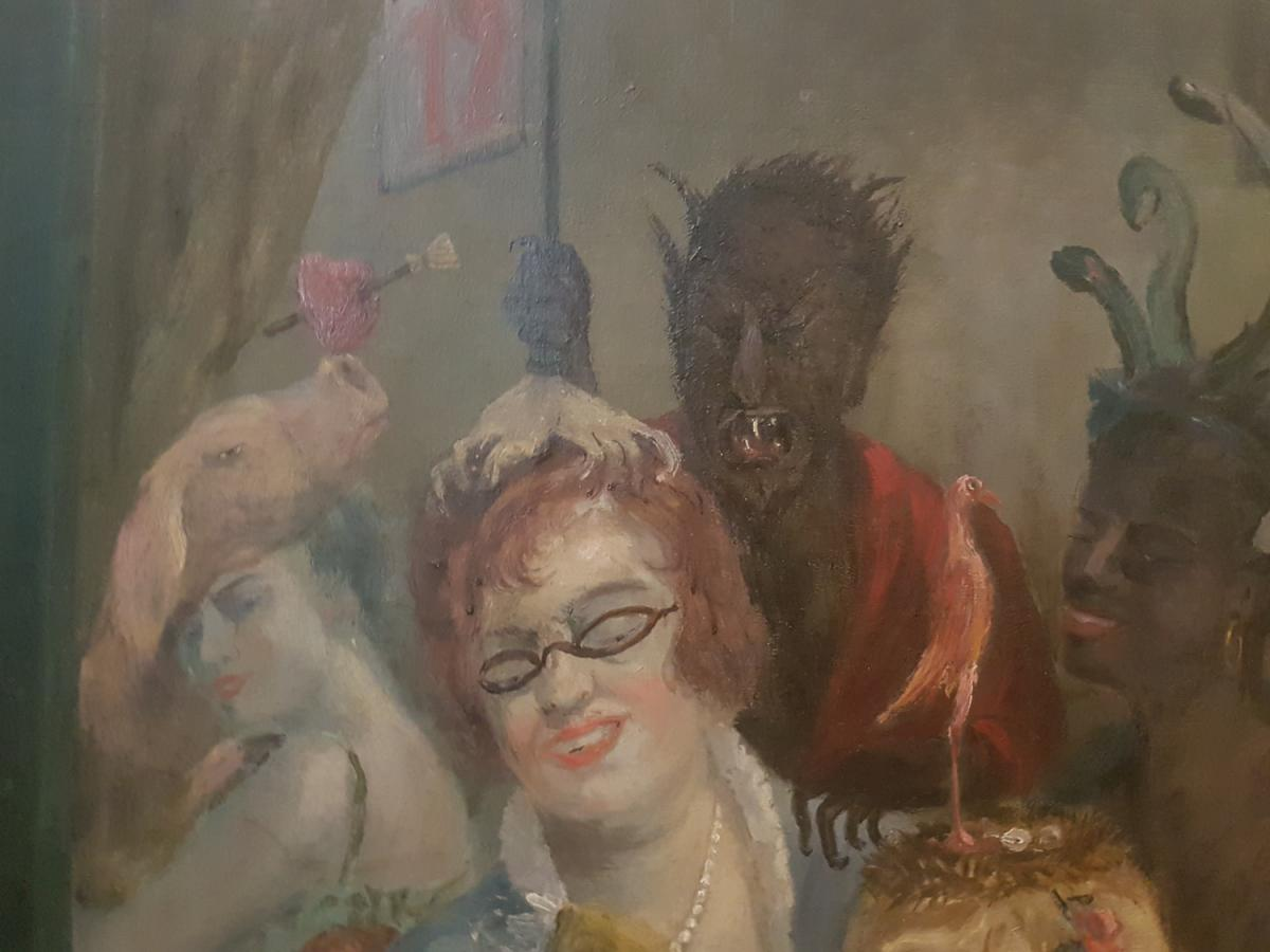 Painting Of Curiosity Oil On Canvas, Unsigned 1940's With Devil, Skeleton, Satyr, Dog And Women-photo-4