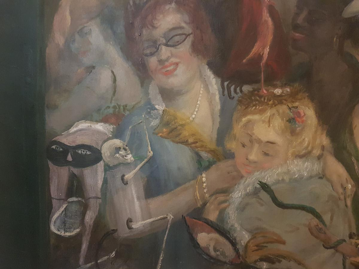 Painting Of Curiosity Oil On Canvas, Unsigned 1940's With Devil, Skeleton, Satyr, Dog And Women-photo-2