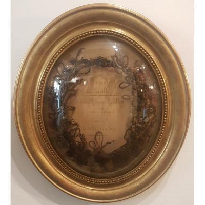 Art Funèbre: Travail Mortuaire De Cheveux 2eme Moitié Du 19eme Siècle Napoléon III