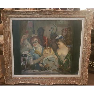 Curiosité Huile Sur Toile, Non Signée Années 1940 Diable, Squelette, Satyre, Chien Et Femmes