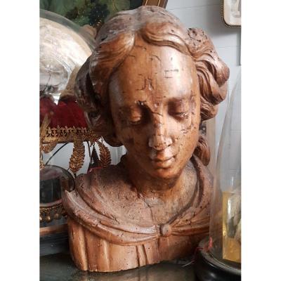 Buste De Femme En Bois Sculpté 17ème