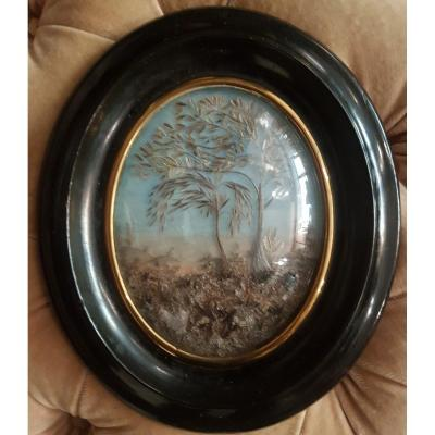 Napoleon III Small Frame Of Memorabilia Made Of Dried Flowers And Painted Bachground