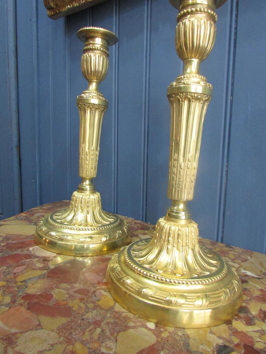 Great Pair Of Golden Bronze Torches, 18th Century