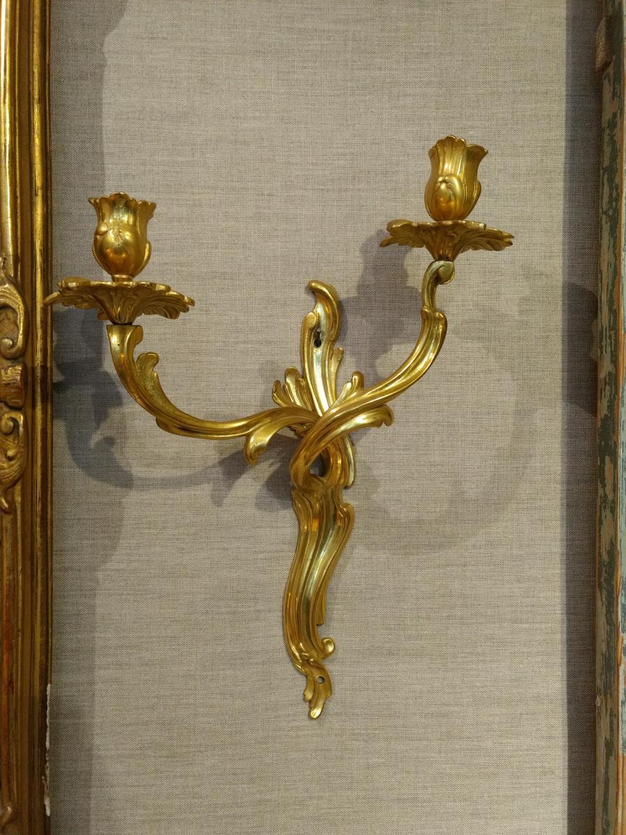 Paire d'Appliques, Bronze Doré XVIIIe Siècle