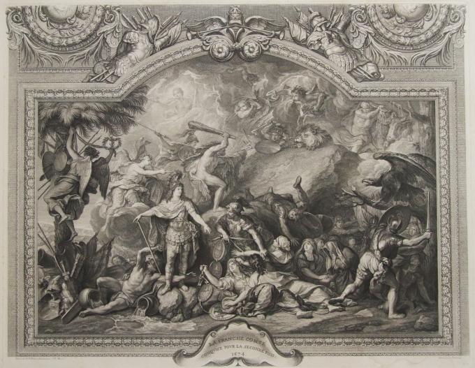 Estampe De La Galerie Des Glaces, Louis XIV Conquiert La Franche-comté, Vers 1753