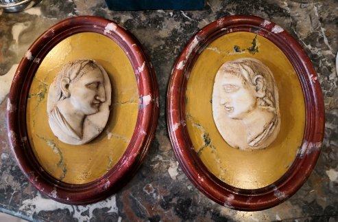 Pair Of Roman Emperor Profiles In Alabaster Nineteenth Century