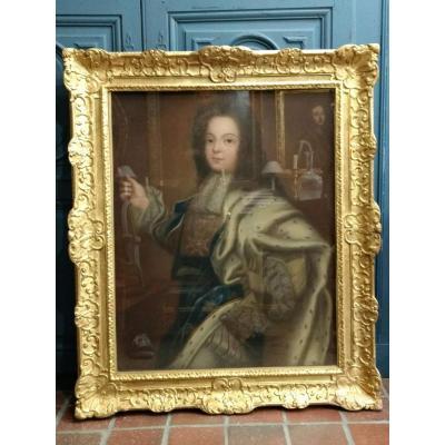 Portrait du jeune Louis XV au pastel sur papier et cadre en bois doré XVIIIe