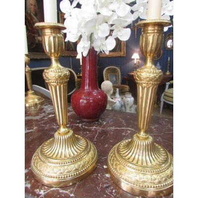 Paire De Flambeaux En Bronze Doré XVIIIe Siècle
