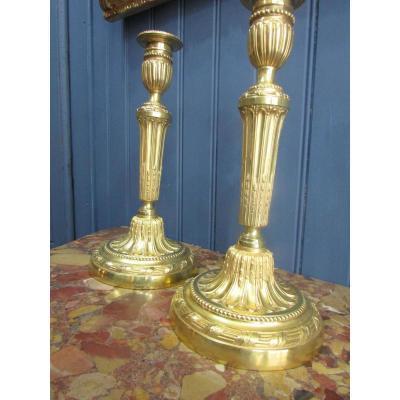 Grande Paire De Flambeaux En Bronze Doré, XVIIIe Siècle