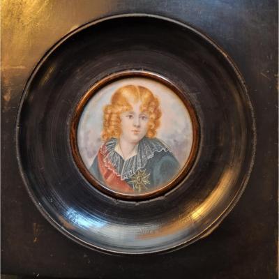 Portrait  De Louis XVII En Miniature Sur Ivoire