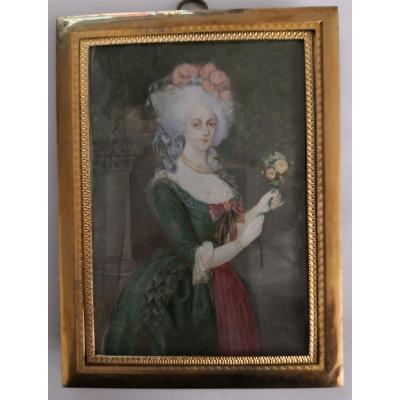 Large Portrait In Miniature On Ivory Of Marie Antoinette, Nineteenth Century