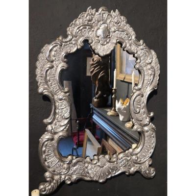 Miroir Baroque   Argenté, XIXe Siècle