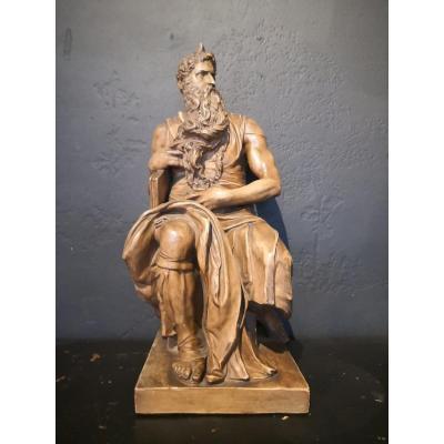 Sculpture De Moïse En Terre Cuite d'Après Michel-ange . XXe Siècle