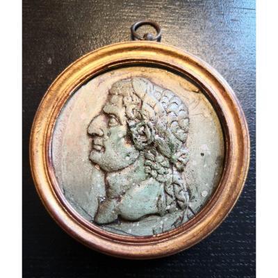Portrait De Tibère En Scagliola à l'Imitation Du Porphyre Vert. XXe Siècle