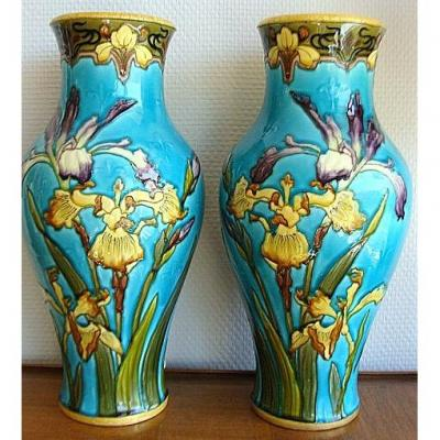 Victor Yung, Pair Of Enamelled Vases In Earthenware From Sèvres.