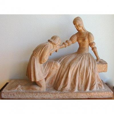 D. H Chiparus, Romeo And Juliette, Terracotta Sculpture